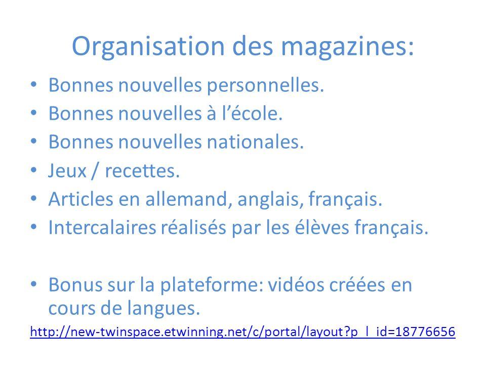 Organisation des magazines: Bonnes nouvelles personnelles.