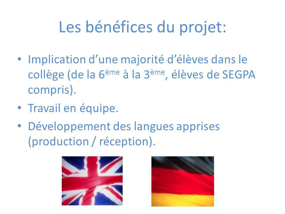 Les bénéfices du projet: Implication dune majorité délèves dans le collège (de la 6 ème à la 3 ème, élèves de SEGPA compris).