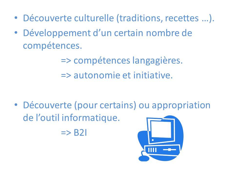 Découverte culturelle (traditions, recettes …). Développement dun certain nombre de compétences.