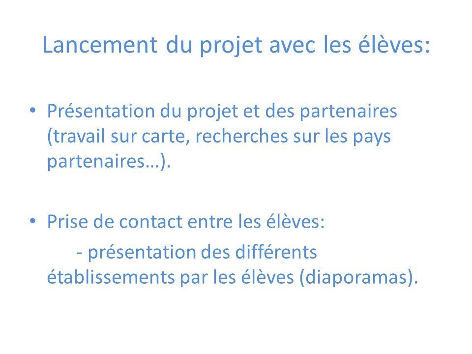 Lancement du projet avec les élèves: Présentation du projet et des partenaires (travail sur carte, recherches sur les pays partenaires…).