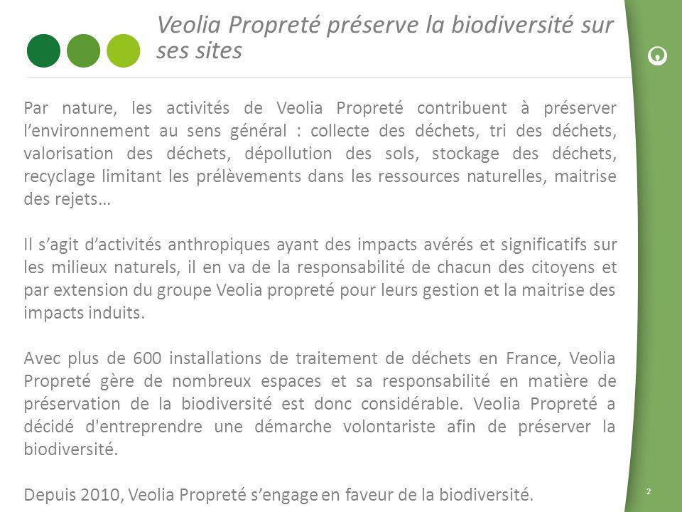 2 Veolia Propreté préserve la biodiversité sur ses sites Par nature, les activités de Veolia Propreté contribuent à préserver lenvironnement au sens g