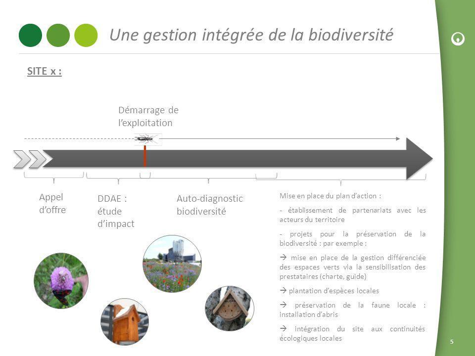 55 Une gestion intégrée de la biodiversité DDAE : étude dimpact Appel doffre Auto-diagnostic biodiversité Démarrage de lexploitation Mise en place du