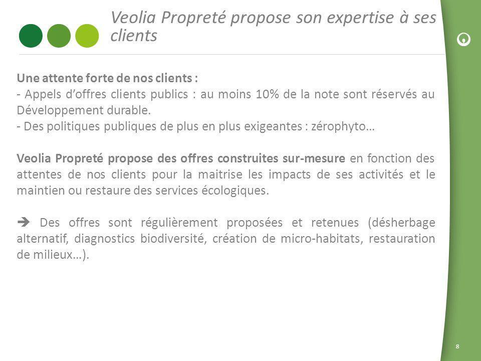 8 Veolia Propreté propose son expertise à ses clients Une attente forte de nos clients : - Appels doffres clients publics : au moins 10% de la note so