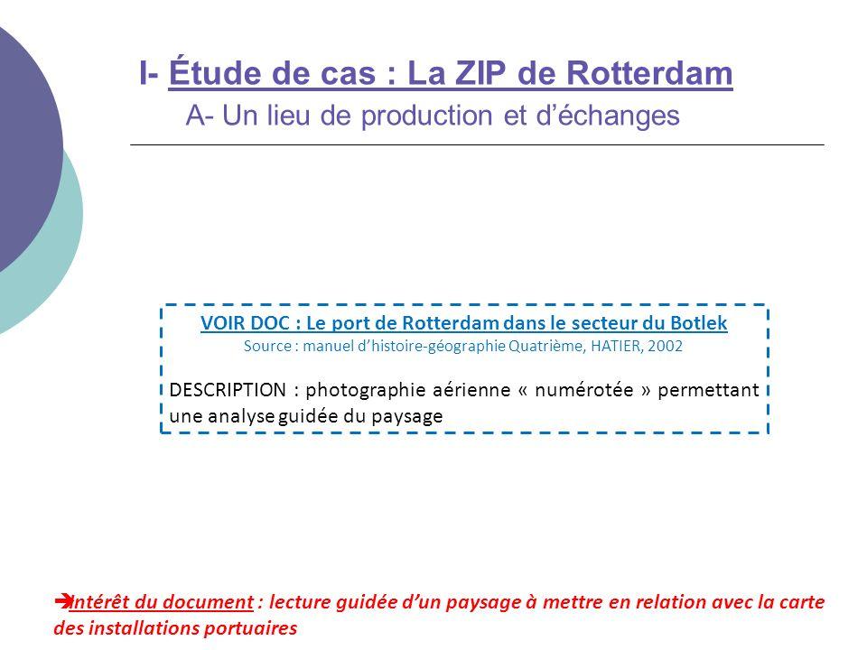 I- Étude de cas : La ZIP de Rotterdam A- Un lieu de production et déchanges Intérêt du document : lecture guidée dun paysage à mettre en relation avec