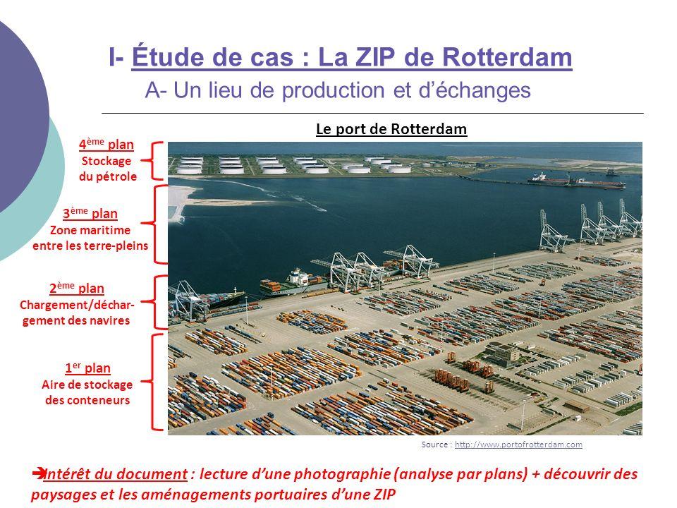 2 ème plan Chargement/déchar- gement des navires I- Étude de cas : La ZIP de Rotterdam A- Un lieu de production et déchanges Intérêt du document : lec