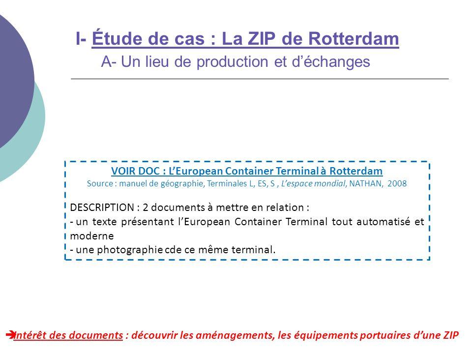 Intérêt des documents : découvrir les aménagements, les équipements portuaires dune ZIP I- Étude de cas : La ZIP de Rotterdam A- Un lieu de production