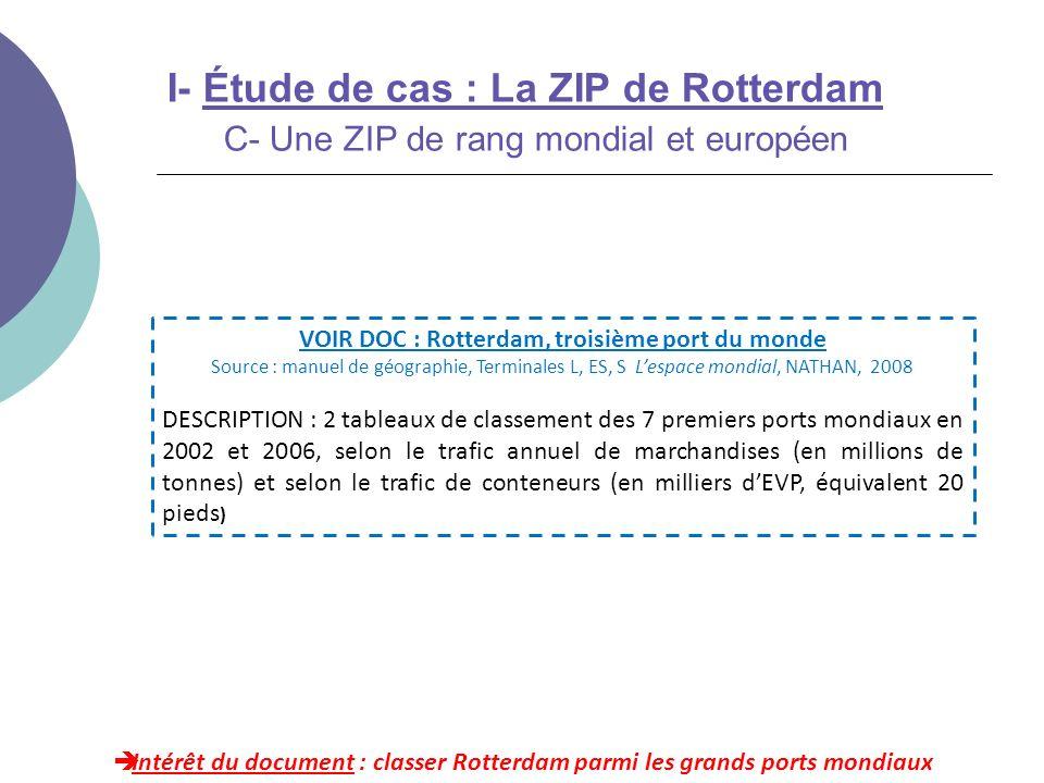 I- Étude de cas : La ZIP de Rotterdam C- Une ZIP de rang mondial et européen Intérêt du document : classer Rotterdam parmi les grands ports mondiaux V