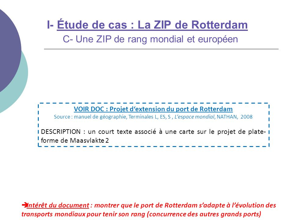 I- Étude de cas : La ZIP de Rotterdam C- Une ZIP de rang mondial et européen Intérêt du document : montrer que le port de Rotterdam sadapte à lévoluti