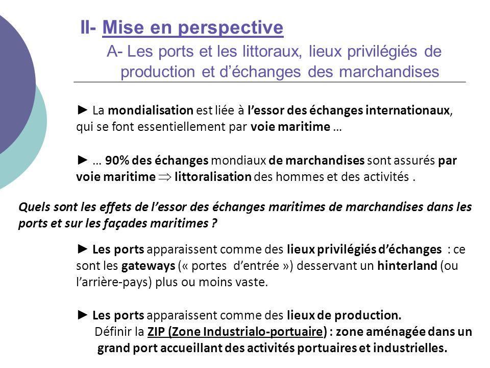 II- Mise en perspective A- Les ports et les littoraux, lieux privilégiés de production et déchanges des marchandises … 90% des échanges mondiaux de ma