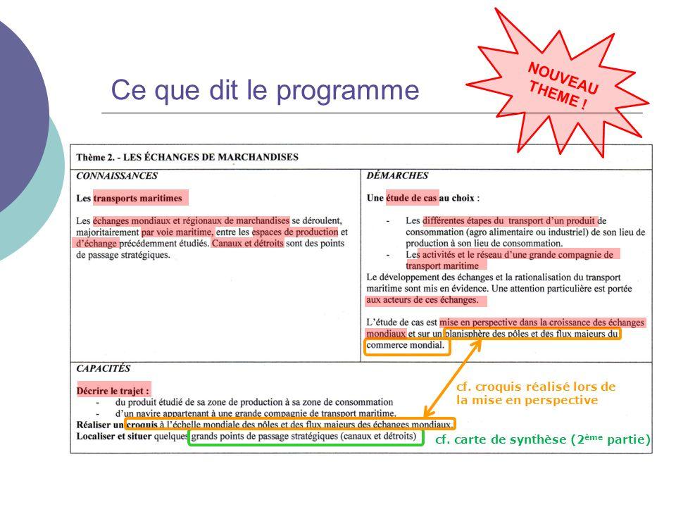 Ce que dit le programme NOUVEAU THEME ! cf. carte de synthèse (2 ème partie) cf. croquis réalisé lors de la mise en perspective