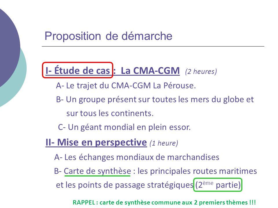 Proposition de démarche I- Étude de cas : La CMA-CGM (2 heures) A- Le trajet du CMA-CGM La Pérouse. B- Un groupe présent sur toutes les mers du globe