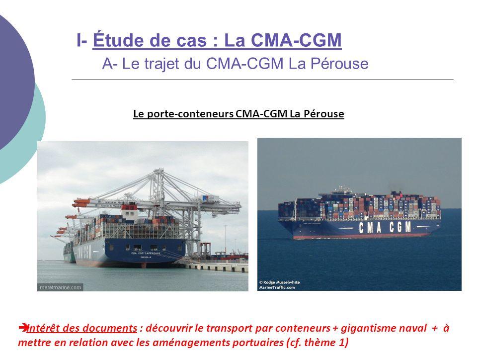 Intérêt des documents : découvrir le transport par conteneurs + gigantisme naval + à mettre en relation avec les aménagements portuaires (cf. thème 1)