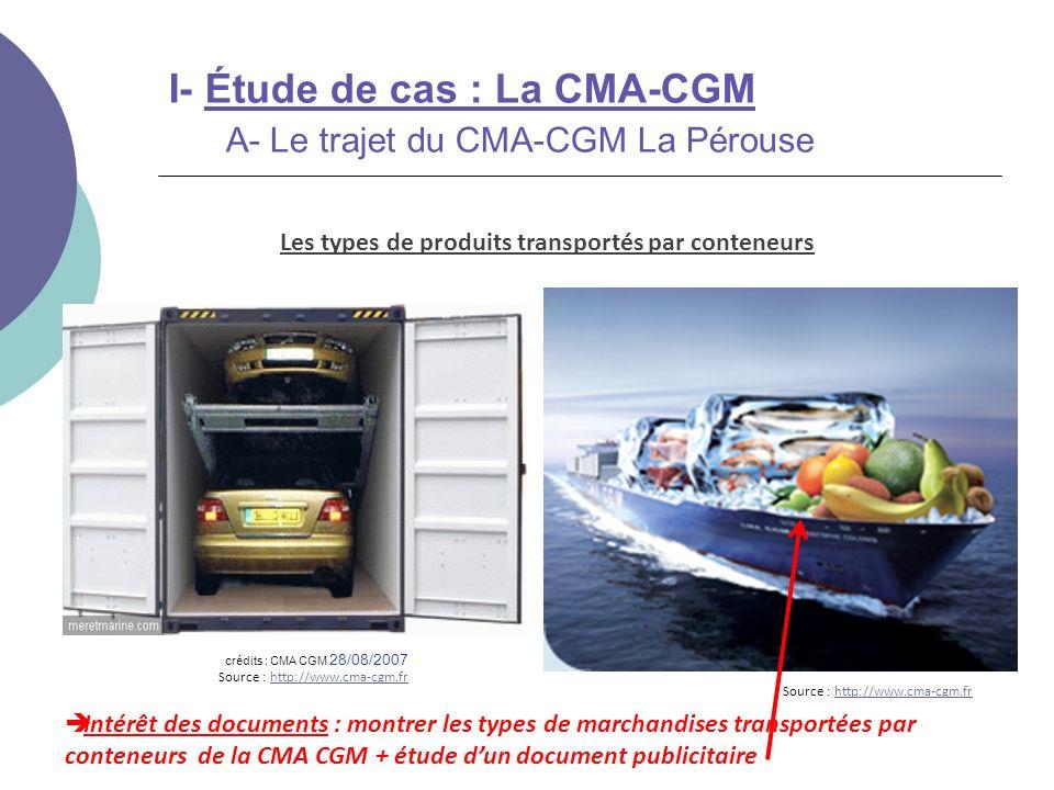 Intérêt des documents : montrer les types de marchandises transportées par conteneurs de la CMA CGM + étude dun document publicitaire Les types de pro