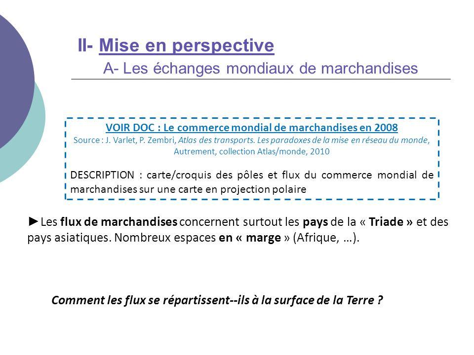 II- Mise en perspective A- Les échanges mondiaux de marchandises Comment les flux se répartissent--ils à la surface de la Terre ? Les flux de marchand