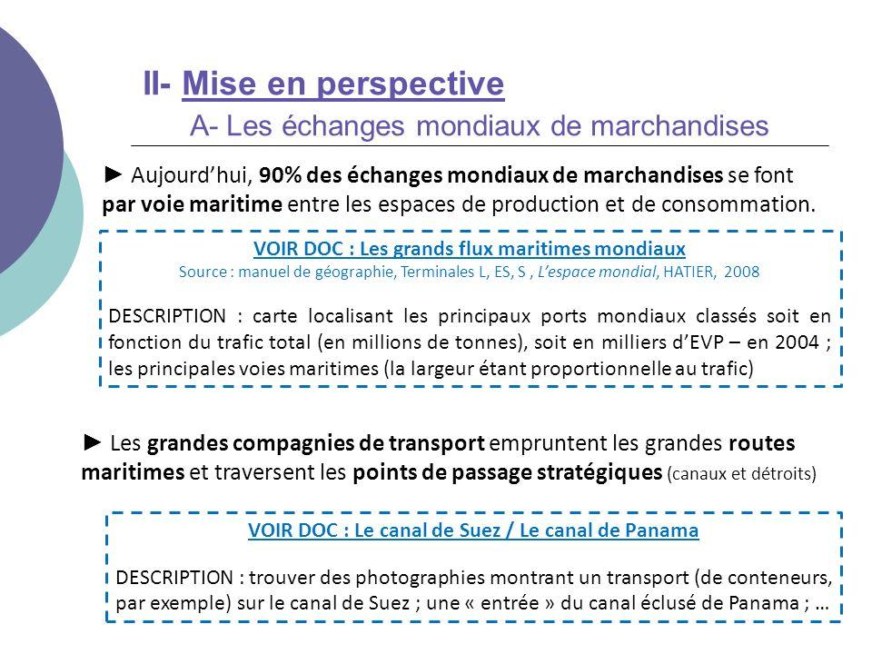 II- Mise en perspective A- Les échanges mondiaux de marchandises Aujourdhui, 90% des échanges mondiaux de marchandises se font par voie maritime entre