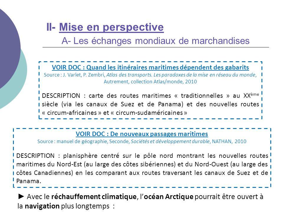 II- Mise en perspective A- Les échanges mondiaux de marchandises Avec le réchauffement climatique, locéan Arctique pourrait être ouvert à la navigatio