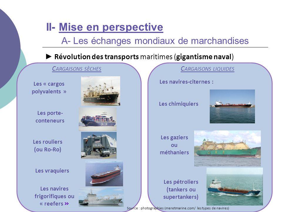 II- Mise en perspective A- Les échanges mondiaux de marchandises Révolution des transports maritimes (gigantisme naval) C ARGAISONS LIQUIDES Les « car