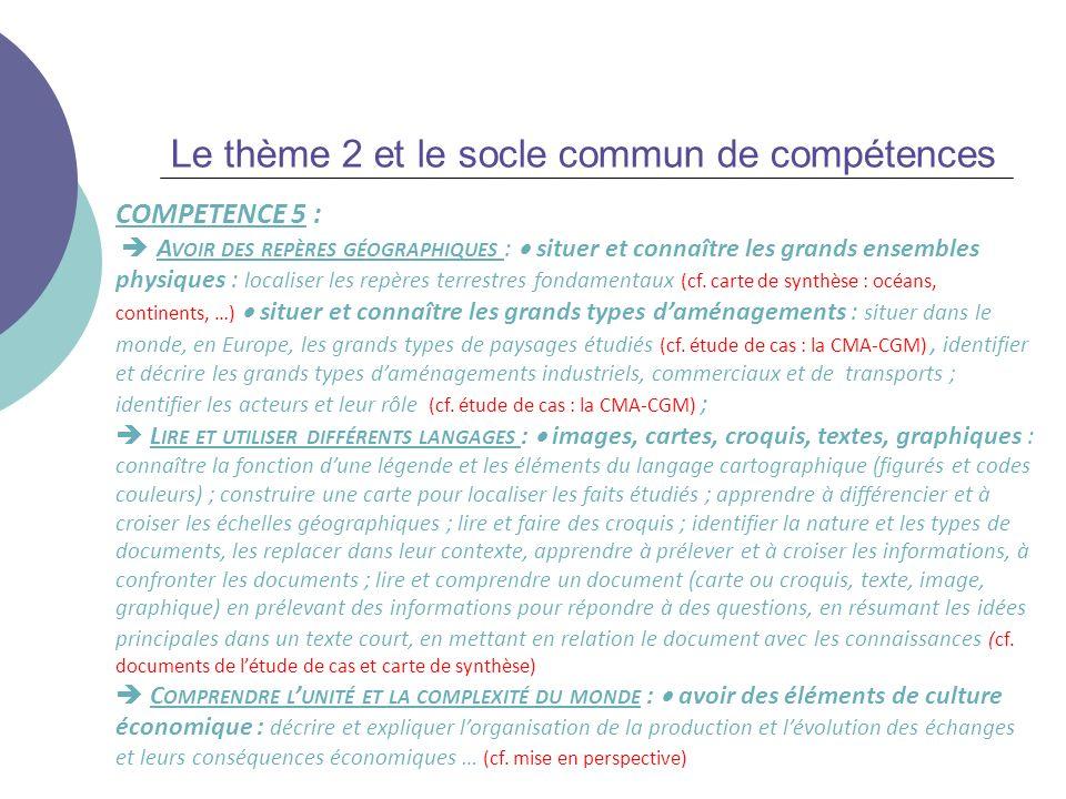 Le thème 2 et le socle commun de compétences COMPETENCE 5 : A VOIR DES REPÈRES GÉOGRAPHIQUES : situer et connaître les grands ensembles physiques : lo