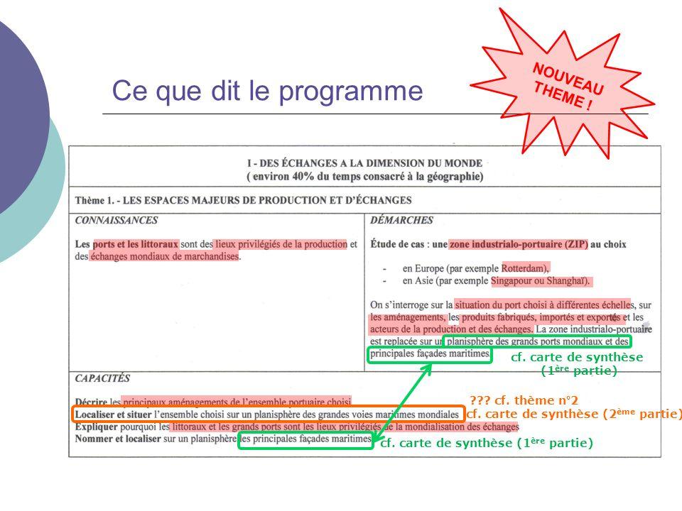 Ce que dit le programme NOUVEAU THEME ! ??? cf. thème n°2 cf. carte de synthèse (2 ème partie) cf. carte de synthèse (1 ère partie) cf. carte de synth