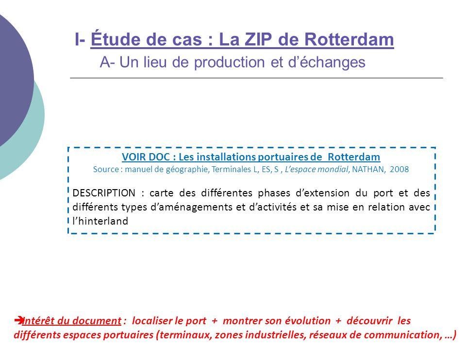 I- Étude de cas : La ZIP de Rotterdam C- Une ZIP de rang mondial et européen Intérêt du document : montrer que le port de Rotterdam sadapte à lévolution des transports mondiaux pour tenir son rang (concurrence des autres grands ports) VOIR DOC : Projet dextension du port de Rotterdam Source : manuel de géographie, Terminales L, ES, S, Lespace mondial, NATHAN, 2008 DESCRIPTION : un court texte associé à une carte sur le projet de plate- forme de Maasvlakte 2