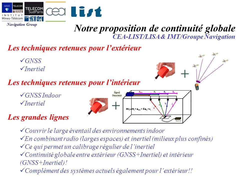 Navigation Group Notre proposition de continuité globale CEA-LIST/LISA & IMT/Groupe Navigation Les techniques retenues pour lextérieur GNSS Inertiel Les techniques retenues pour lintérieur GNSS Indoor Inertiel Les grandes lignes Couvrir le large éventail des environnements indoor En combinant radio (larges espaces) et inertiel (milieux plus confinés) Ce qui permet un calibrage régulier de linertiel Continuité globale entre extérieur (GNSS+Inertiel) et intérieur (GNSS+Inertiel).