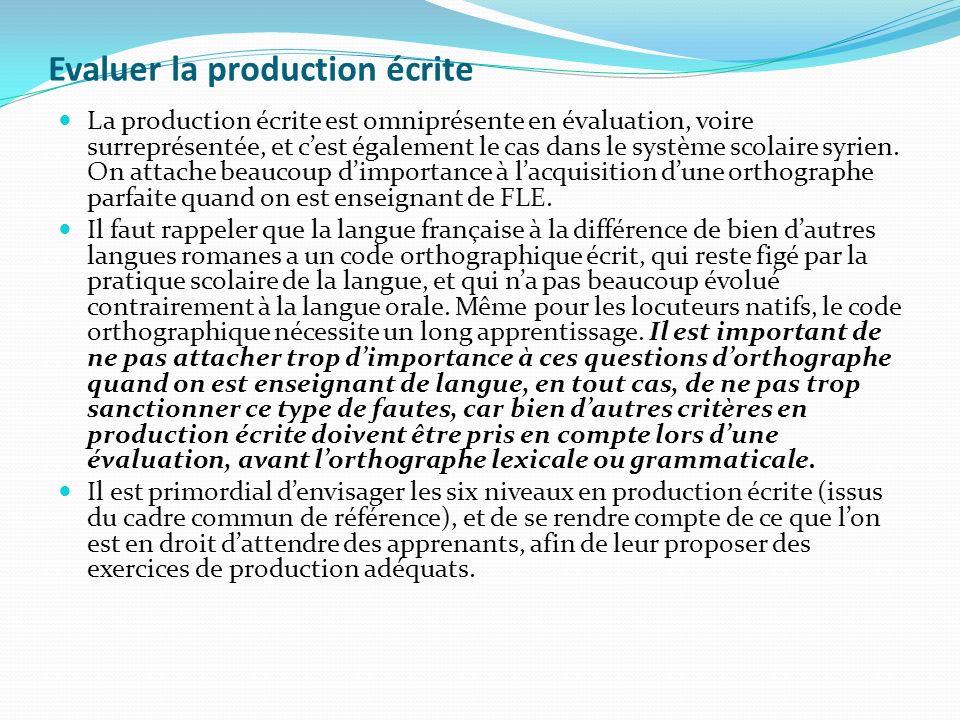 Evaluer la production écrite La production écrite est omniprésente en évaluation, voire surreprésentée, et cest également le cas dans le système scola