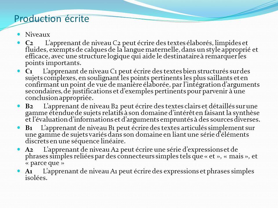 Production écrite Niveaux C2 Lapprenant de niveau C2 peut écrire des textes élaborés, limpides et fluides, exempts de calques de la langue maternelle,