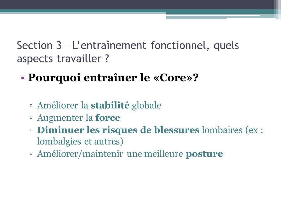 Section 3 – Lentraînement fonctionnel, quels aspects travailler ? Pourquoi entraîner le «Core»? Améliorer la stabilité globale Augmenter la force Dimi