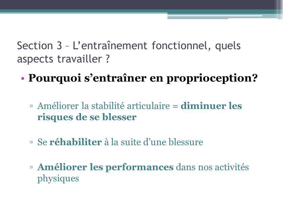 Section 3 – Lentraînement fonctionnel, quels aspects travailler ? Pourquoi sentraîner en proprioception? Améliorer la stabilité articulaire = diminuer