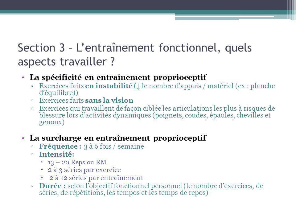 Section 3 – Lentraînement fonctionnel, quels aspects travailler ? La spécificité en entraînement proprioceptif Exercices faits en instabilité ( le nom