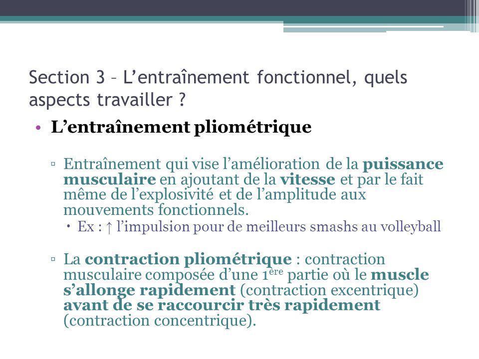 Section 3 – Lentraînement fonctionnel, quels aspects travailler ? Lentraînement pliométrique Entraînement qui vise lamélioration de la puissance muscu