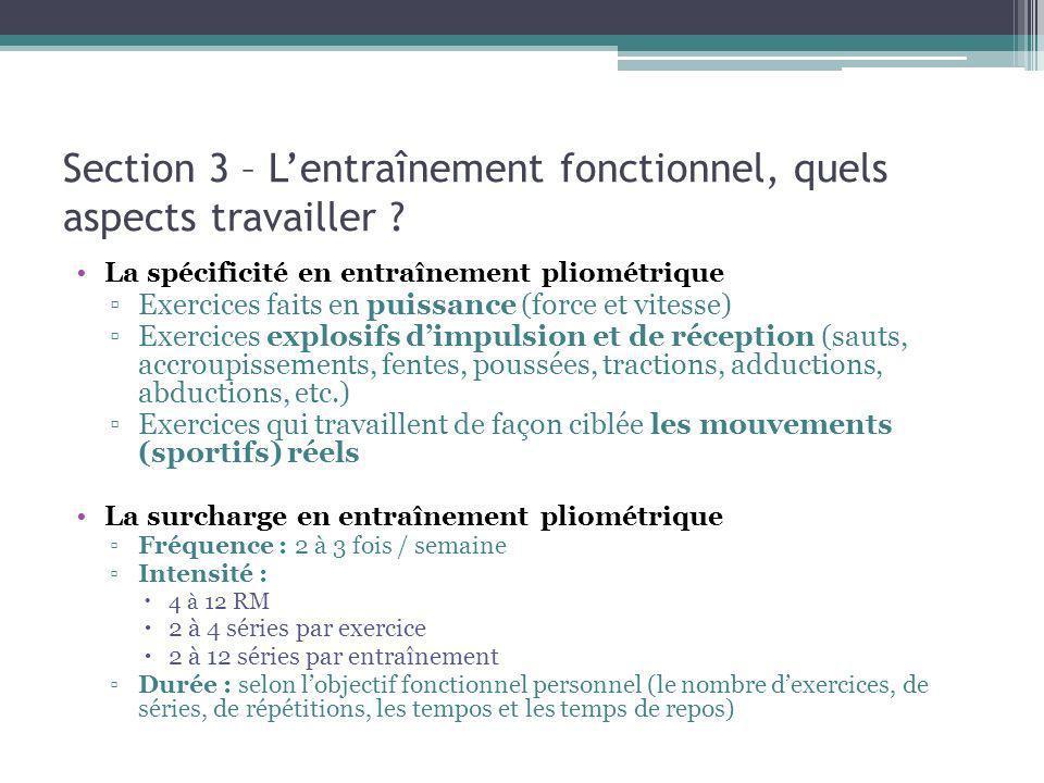 Section 3 – Lentraînement fonctionnel, quels aspects travailler ? La spécificité en entraînement pliométrique Exercices faits en puissance (force et v