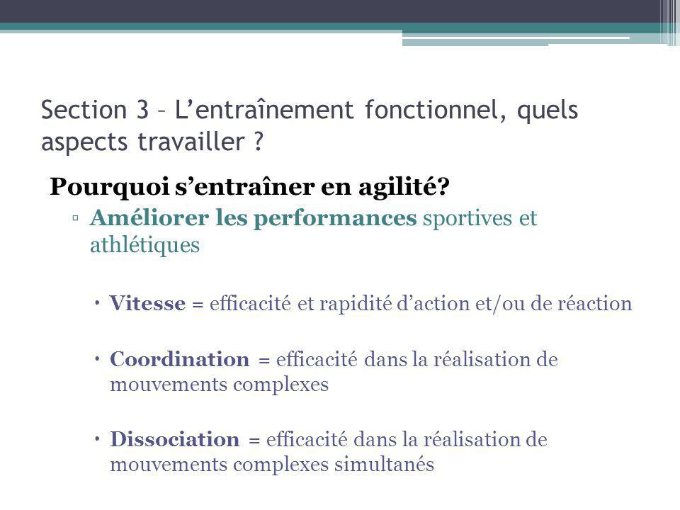 Section 3 – Lentraînement fonctionnel, quels aspects travailler ? Pourquoi sentraîner en agilité? Améliorer les performances sportives et athlétiques