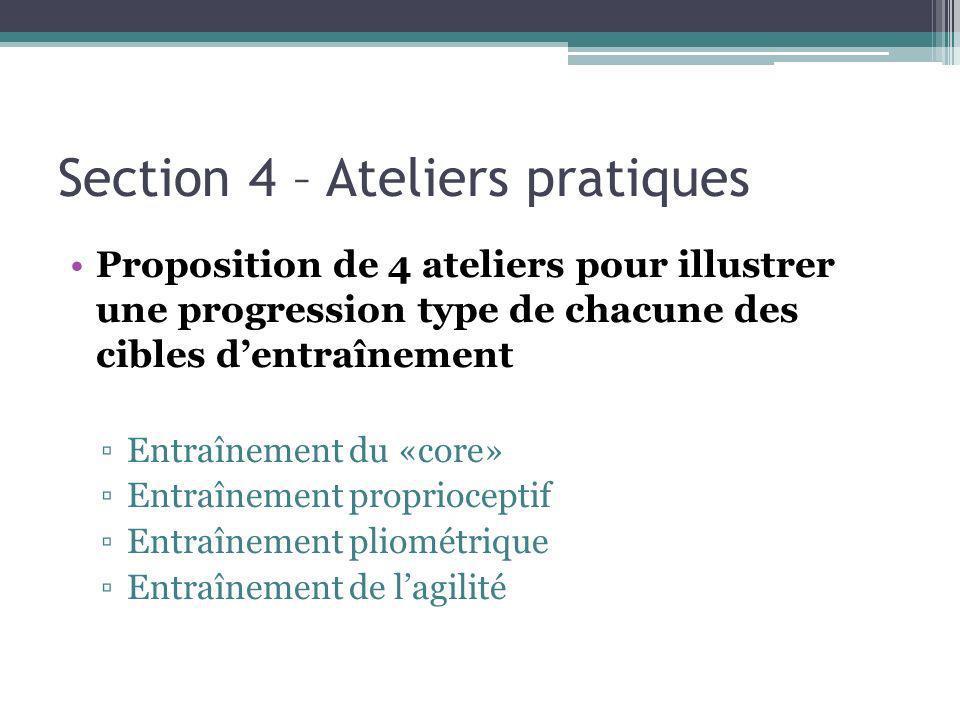 Section 4 – Ateliers pratiques Proposition de 4 ateliers pour illustrer une progression type de chacune des cibles dentraînement Entraînement du «core» Entraînement proprioceptif Entraînement pliométrique Entraînement de lagilité