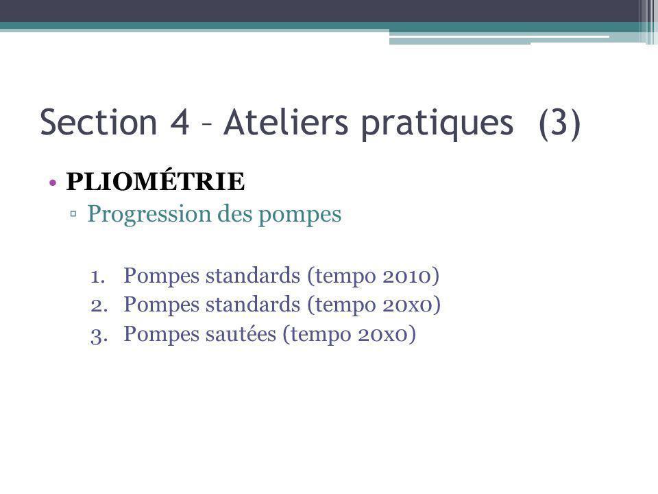 Section 4 – Ateliers pratiques (3) PLIOMÉTRIE Progression des pompes 1.Pompes standards (tempo 2010) 2.Pompes standards (tempo 20x0) 3.Pompes sautées (tempo 20x0)