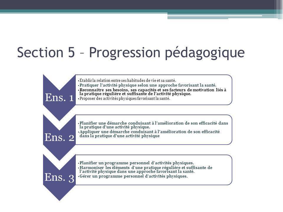 Section 5 – Progression pédagogique Ens. 1 Établir la relation entre ses habitudes de vie et sa santé. Pratiquer lactivité physique selon une approche
