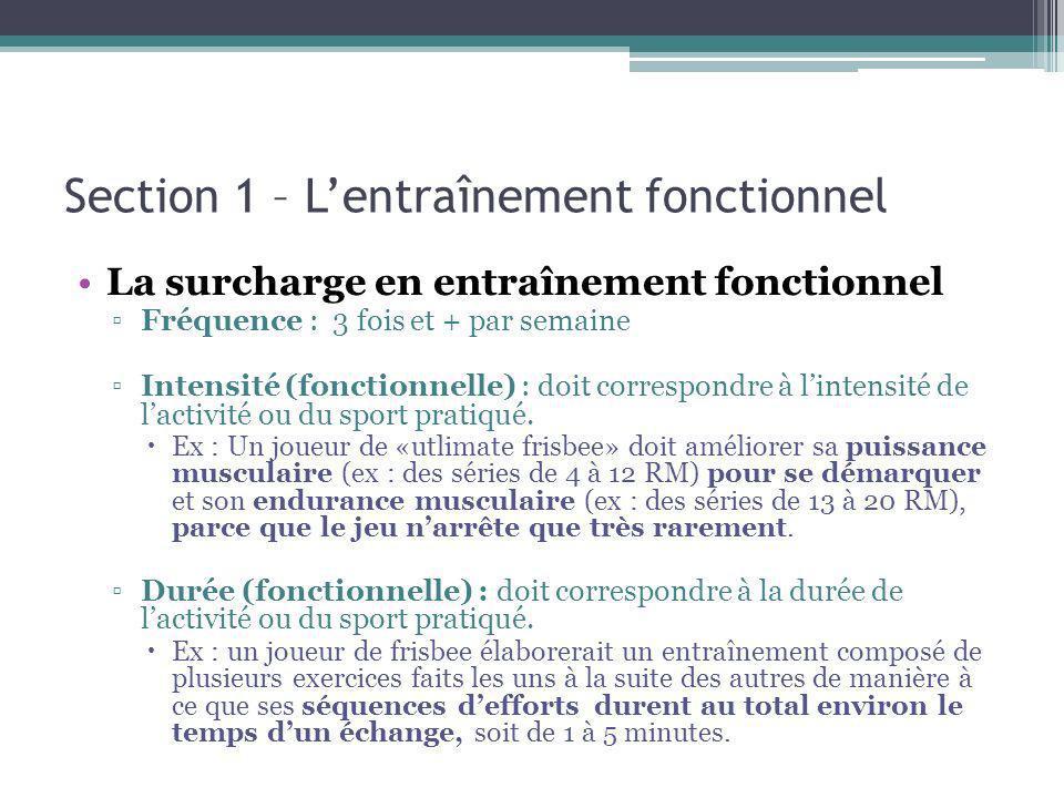 Section 1 – Lentraînement fonctionnel La surcharge en entraînement fonctionnel Fréquence : 3 fois et + par semaine Intensité (fonctionnelle) : doit correspondre à lintensité de lactivité ou du sport pratiqué.