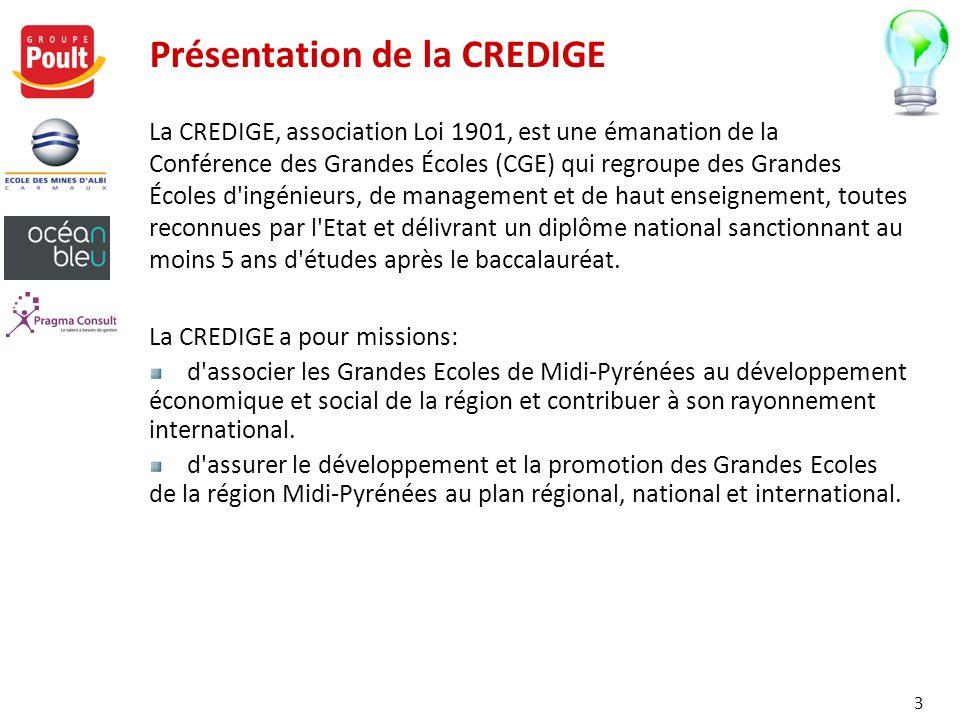 Présentation de la CREDIGE La CREDIGE, association Loi 1901, est une émanation de la Conférence des Grandes Écoles (CGE) qui regroupe des Grandes Écol