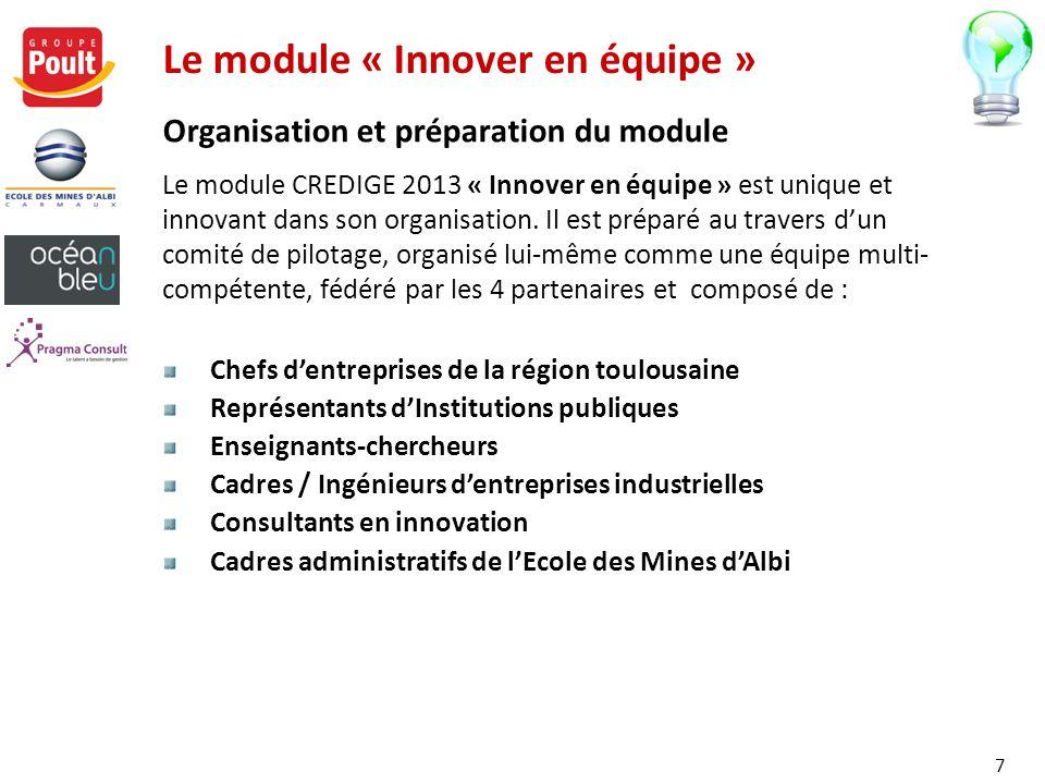 Le module « Innover en équipe » Le module CREDIGE 2013 « Innover en équipe » est unique et innovant dans son organisation. Il est préparé au travers d