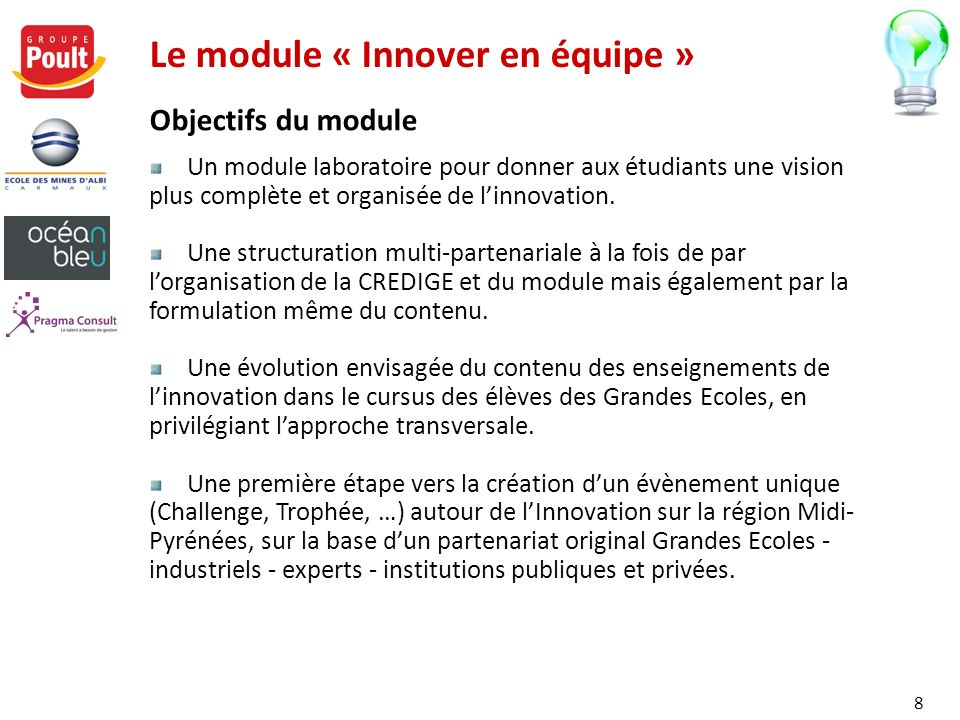 Le module « Innover en équipe » Objectifs du module Un module laboratoire pour donner aux étudiants une vision plus complète et organisée de linnovati