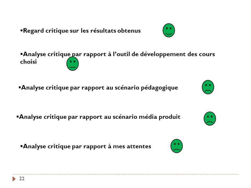 Analyse critique par rapport au scénario média produit Analyse critique par rapport au scénario pédagogique Regard critique sur les résultats obtenus