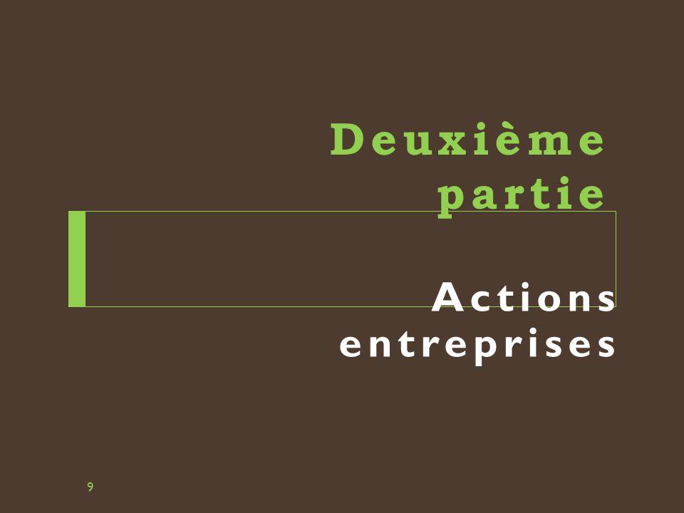 Deuxième partie Actions entreprises 9