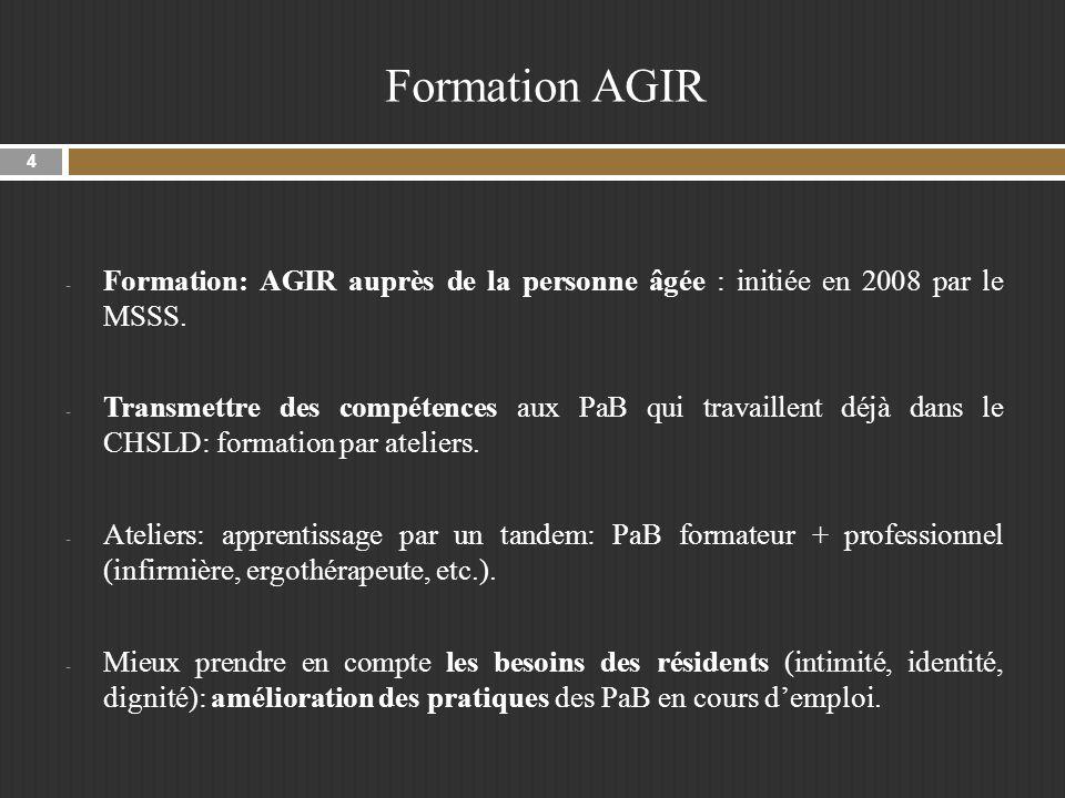 Formation AGIR - Formation: AGIR auprès de la personne âgée : initiée en 2008 par le MSSS.
