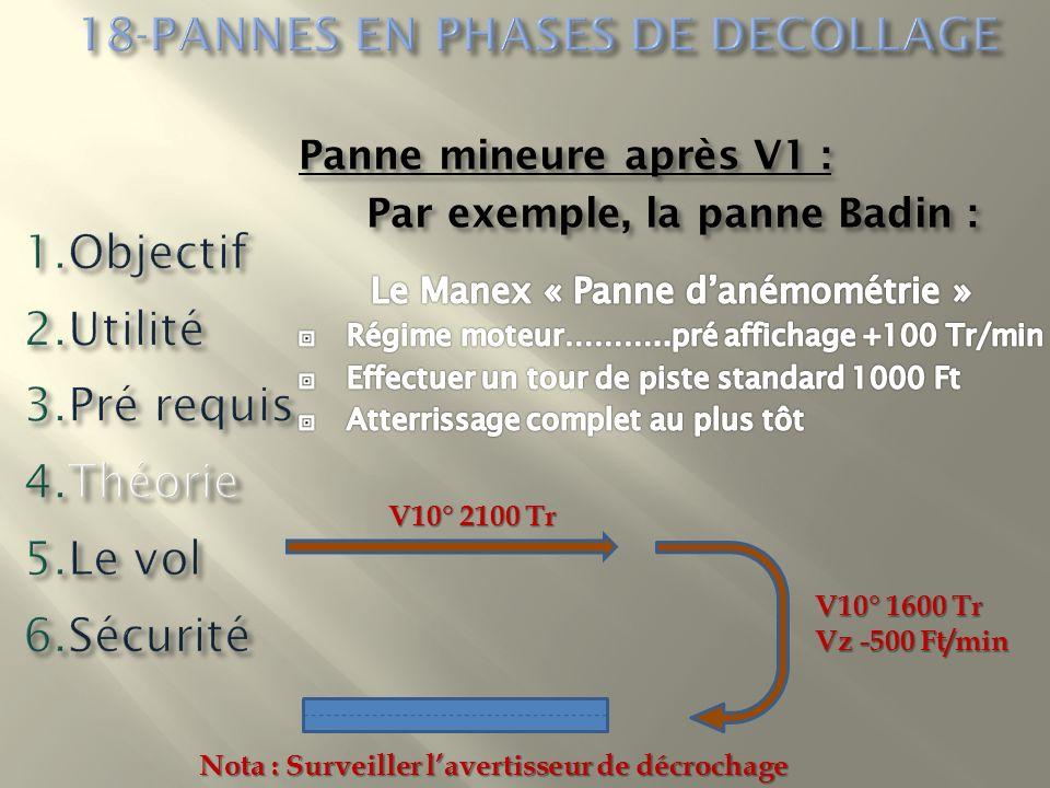 V10° 2100 Tr V10° 1600 Tr Vz -500 Ft/min Nota : Surveiller lavertisseur de décrochage