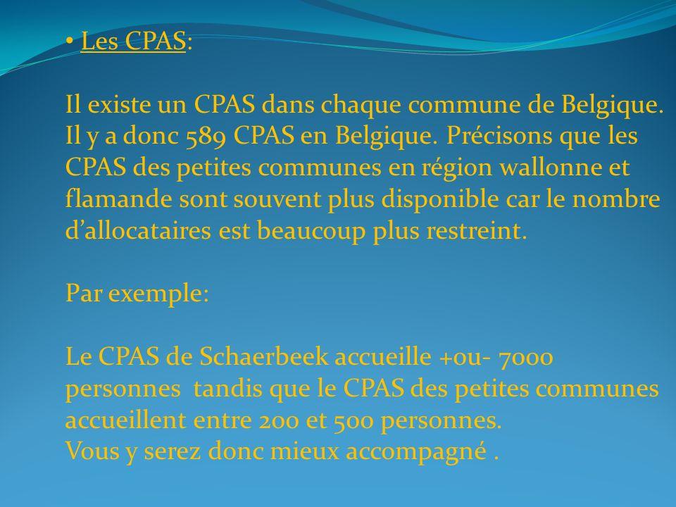 Les CPAS: Il existe un CPAS dans chaque commune de Belgique.