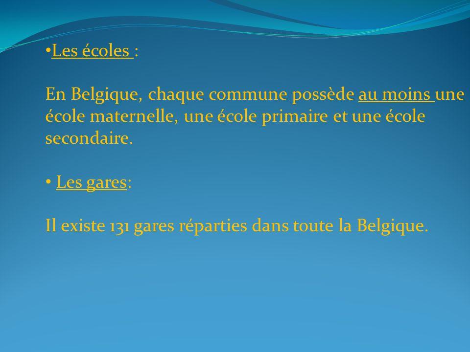 Les écoles : En Belgique, chaque commune possède au moins une école maternelle, une école primaire et une école secondaire.