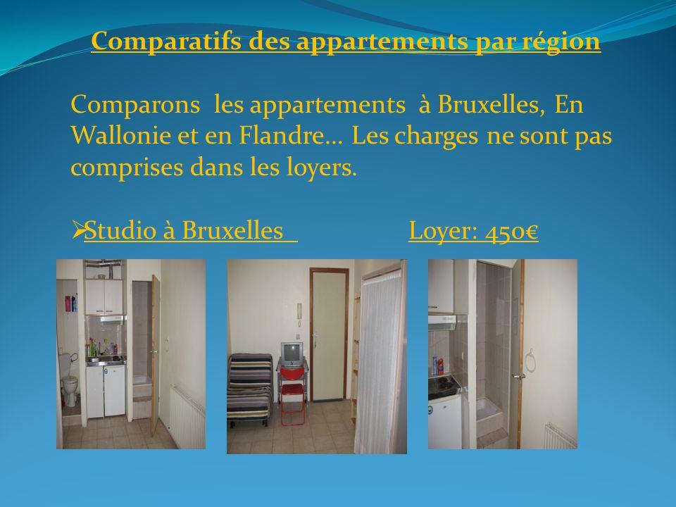 Comparatifs des appartements par région Comparons les appartements à Bruxelles, En Wallonie et en Flandre… Les charges ne sont pas comprises dans les loyers.