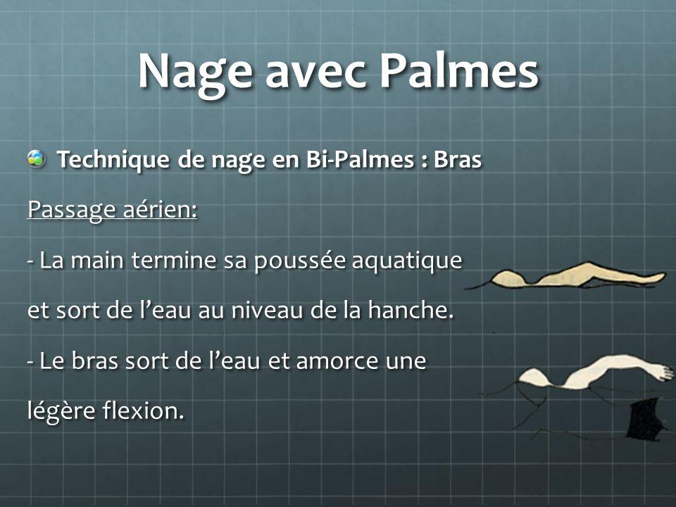 Nage avec Palmes Technique de nage en Bi-Palmes : Bras Passage aérien: - La main termine sa poussée aquatique et sort de leau au niveau de la hanche.
