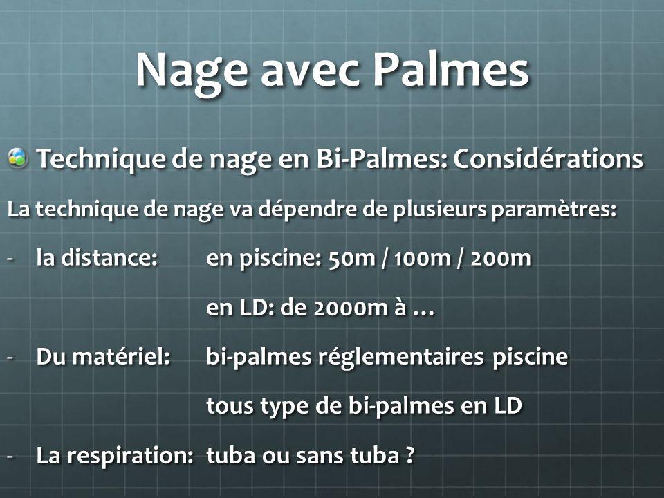 Nage avec Palmes Technique de nage en Bi-Palmes: Considérations La technique de nage va dépendre de plusieurs paramètres: -la distance: en piscine: 50