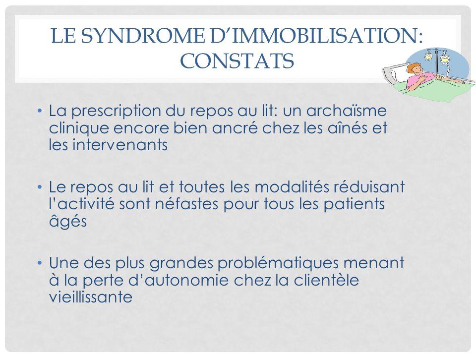 LE SYNDROME DIMMOBILISATION: CONSTATS La prescription du repos au lit: un archaïsme clinique encore bien ancré chez les aînés et les intervenants Le r